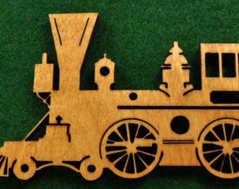 Wood Train Engine Ornament