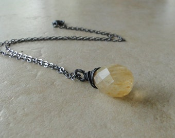Coffee Quartz Teardrop Necklace, Wire Wrapped And Oxidized On A Sterling Silver Chain