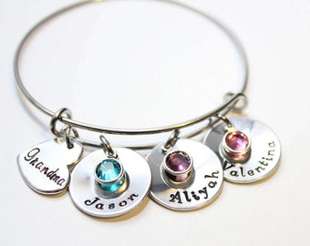 grandma bracelet, grandma jewelry, grandma name necklace, grandmother bracelet, grandmother bangle, personalized grandma bracelet, name