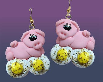Ham and Egg Pig Earrings