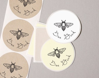 "envelope seals hand drawn vintage bumble bee BEE GOOD label stickers 20 medium 2"" white cream kraft paper gift wrap seals goody bag stuffers"