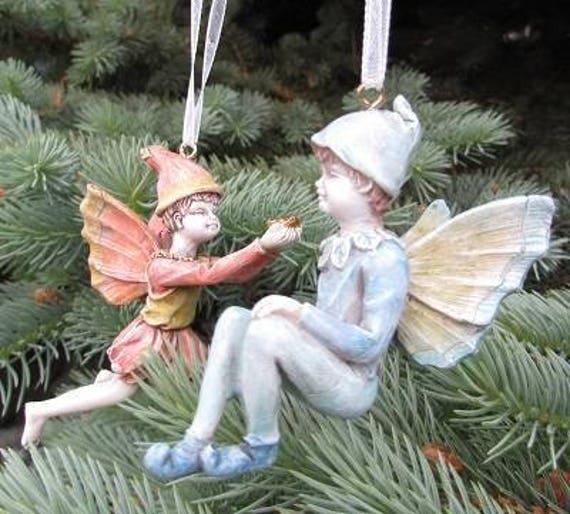 "Santa's Little Boy Fairy Ornaments -Choose Blue Fairy (3.5"" Tall) or the Light Red Fairy  (2.5"" Tall) Made of Resin"