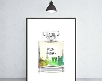 Chanel Nr.5 perfume art print Chanel poster Chanel warecolor Chanel home decor Chanel wall decor Chanel painting Chanel perfume art