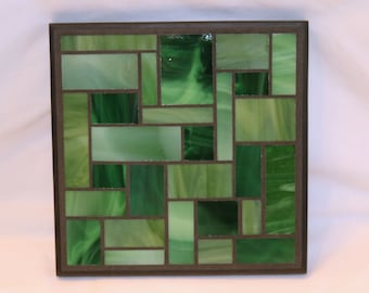 Green stained glass mosaic trivet