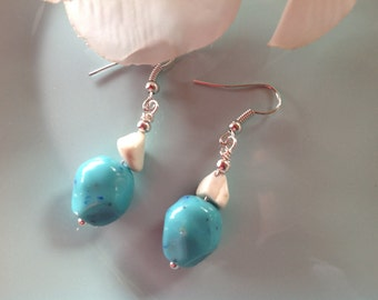 Turquoise earrings, turquoise jewelry, beaded earrings, dangle, handcrafted jewelry, gemstone, handmade, gemstone earrings, trendy jewelry