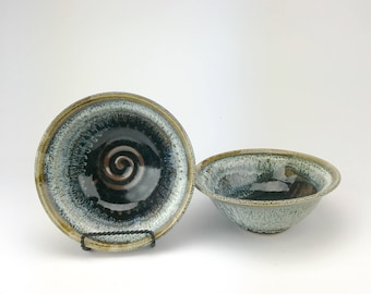 """Set of Two Bowls - Handmade Stoneware Pottery Clay Bowls Set - Awesome Dishes - Ready to Ship Now - 2.5"""" x 6 3/8"""" - WF-SPB-1"""