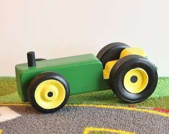 Toy Green and Yellow Farm Tractor - Handcrafted Wooden Green & Yellow Toy Farm Tractor - Farm Garden Tractor - Yellow and Green Toy Tractor