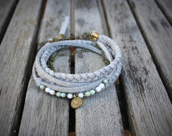 Women's bracelet wrap bracelet, light grey suede, tibetan charm, white and green pearl and antique gold chain. BRA15