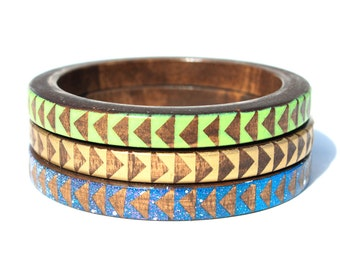Nai Palm Skinny Bangle Set/ Wood Bracelet Trio/ Stacking Bangles/ Painted Triangle Design/ Neon/ Cosmic/ Space/ Gold/ xs-xl
