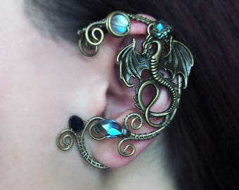 Dragon Ear Cuff Wire Jewelry No Piercing Ear Cuffs Wire Jewelry Wire wrapped ear cuffs Jewelry