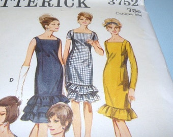 Butterick 3752 Ruffled Shift in two lengths size 14, bust 34 Cut and Complete