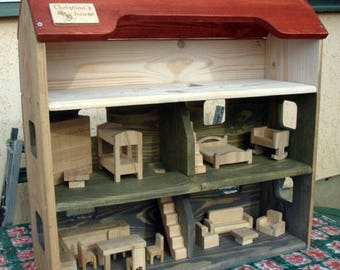 Wood Doll House with Furnitur, Handmade Wooden Kids Toy, Natural Pine Wooden Dollhouse with 3 Floors, Personalized with your kids name