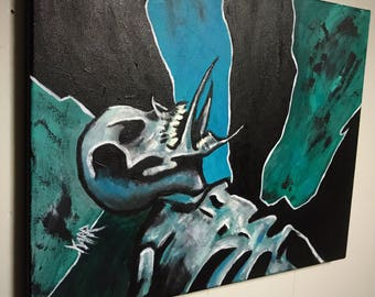 Original horror art oil on canvas painting Trying to Die low brow dark art 14x18 by Wyoming artist Mike Karr!