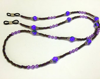Beaded Eyeglass Necklace Holder Lanyard- Purple Eyeglass Chain- Handmade Gifts- Beaded Lanyard for Glasses Jewelry