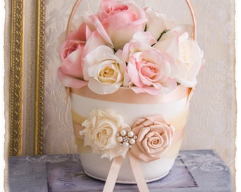 Flower Girls Basket, Champagne and Blush Flower Girl Basket Set, Blush Wedding, Rose Gold Flower Girl Basket