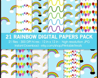 21 Rainbow Digital Paper Pack - Commercial Use, Printable, Scrapbook, Balloons, Clouds, Pennant, Pot of Gold, Rainbow Pattern, Watercolor