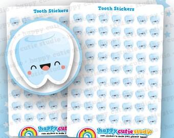 63 Cute Tooth/Dentist Planner Stickers, Filofax, Erin Condren, Happy Planner, Kawaii, Cute Sticker, UK