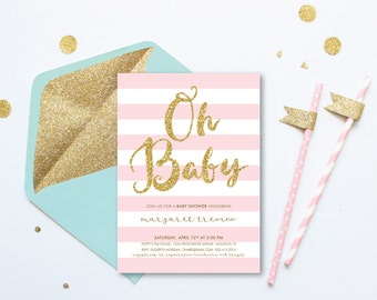 Oh Baby . Girl Baby Shower Invitation Printable . Pink and White Stripes . Gold Glitter . Digital Download . Baby Shower Pink and Gold