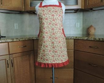 Apron red, cream floral print ruffle trim