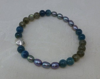 6mm Apatite, Labradorite and Silver Pearl with Hill Tribe Silver Bead Healing Gemstone Therapy Bracelet Semi Precious
