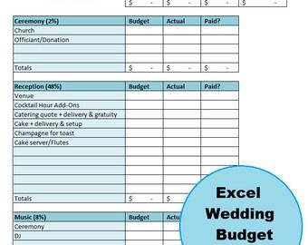 Excel Wedding Budget, Guest List, & Vendor Comparison Electronic Workbook With Bonus Monthly Budget Worksheet For Newlyweds!