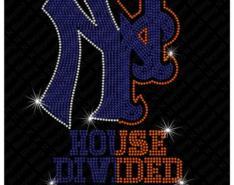 Custom House Divided Shirts.. You give us the logos and we make the bling - Mets - Yankees