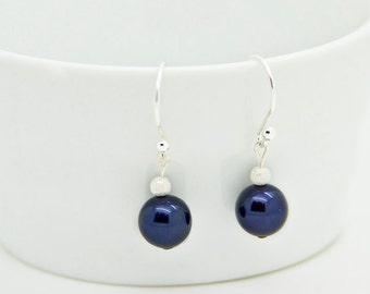 Navy Blue Pearl Earrings For Friend, Small Sterling Silver Dangle Earrings Gift for Women, Dainty Jewelry For Her Birthday, Christmas Gift