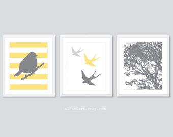 Modern Bird and Tree Nursery Art Prints - Set of 3 Prints -  Baby Girl Nursery Decor - Yellow and Grey - Swallow Bird Print - Woodland Decor