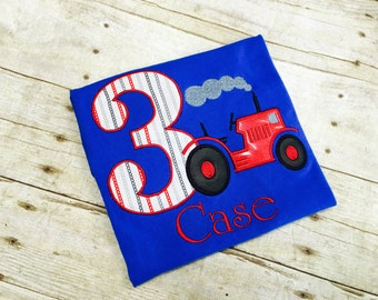Tractor Birthday Shirt/ Red Tractor Birthday Shirt/ Farm Birthday Shirt/ Farm Party/ Tractor Birthday Party/ Red or Green Tractor