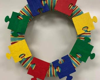 Puzzle Piece Wreath