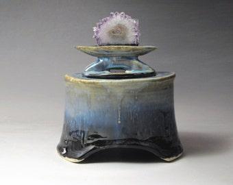 Lemurian Dream Vessel- Handmade Stoneware Vessel with an Amethyst Geode Slice