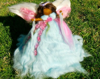 Baby Blue Garden Ethereal Winter Angel Tree Topper by Rebecca Varon- Fairy-ornament made to order Waldorf-inspired