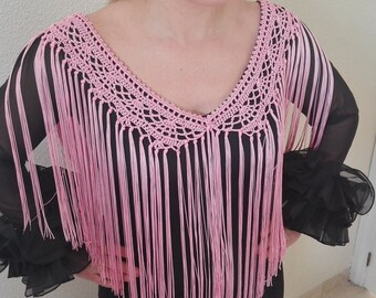Fringes flamenco, flamenco complement, crochet cuquillo, adornment for blouse or dress, party complement, Mother's Day