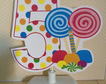 Candyland Birthday Number Party Table Decoration