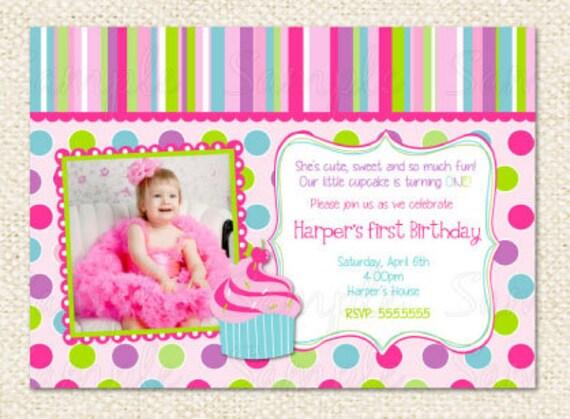 Cupcake first birthday invitations stopboris Image collections
