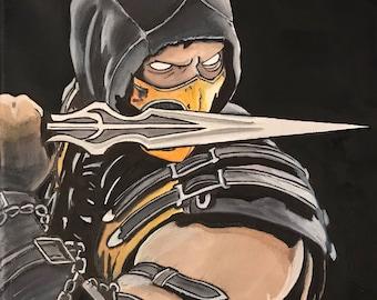 Mortal Kombat Scorpion art painting on 12x12 canvas