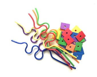 Crazy Straw Bead Threading Busy Bag, Fine Motor Skills with Crazy Straws, Fine Motor Skills Activities for Toddlers