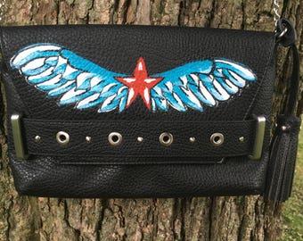 Star wings tattoo flash art handpainted black clutch crossover vegan leather handbag, Sailor Jerry & Ed Hardy inspired, red blue patriotic