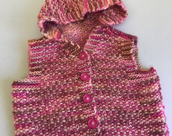 Baby's hand knitted hooded waistcoat/gilet