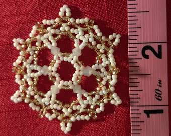 White and Gold Beaded Snowflake Ornament