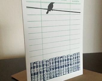 Livres et oiseau - 6-Pack typographie imprimés cartes de voeux