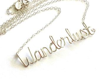 Wanderlust Necklace. Sterling Silver Wanderlust Necklace.