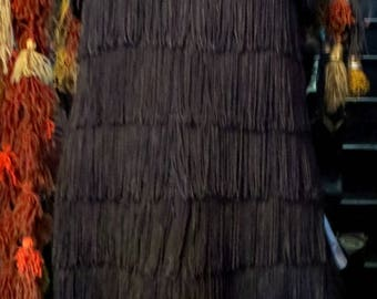 80s Does 20s Vampy Fringed Flapper Dress