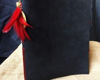 """8""""x10"""" Black Embellished Leather Journal"""