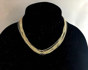Vintage 50s Italian Sterling Silver Multi Strand Necklace | Italy 925