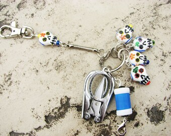 Knitter's Chatelaine: Sugar Skulls - Stitch Markers, Row Counter & Folding Scissors on a Decorative Clasp