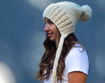 Slouchy Hat, Knit Pom Pom Hat with Ties, Slouchy Winter Hat in Cream