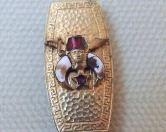 Victorian Shriners Enamel Watch Fob and Chain