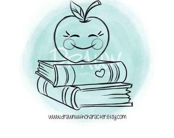 Smiling Apple on School Books, Digital Stamp/ KopyKake Image- F8-APPBOOKS