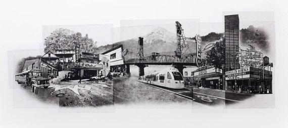 Portland Fine Art - Original Art - Photographic Etching - Print - Photography - Oregon - Photogravure - Photo Collage - Cityscape - Mt Hood